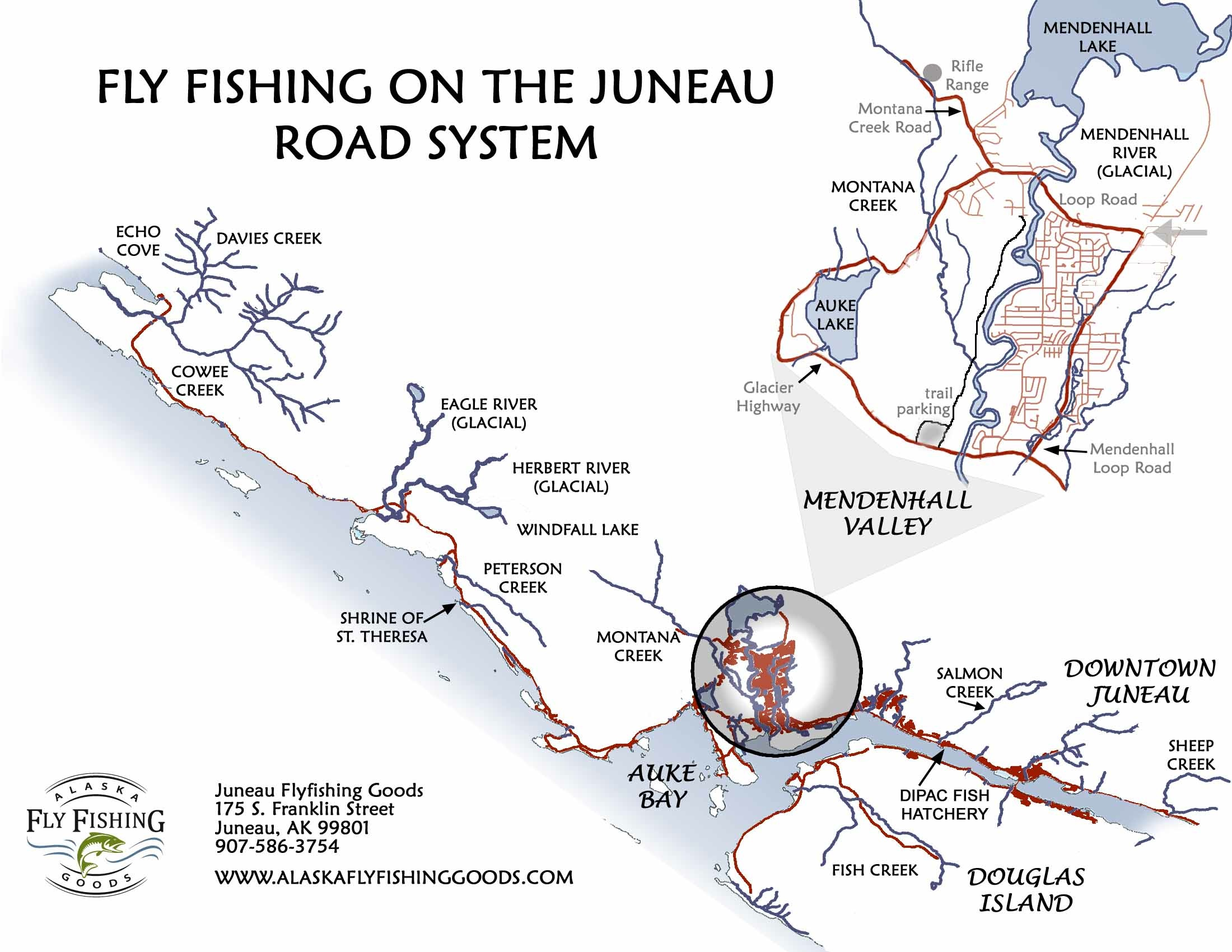 map  shows the entire road system as well as a blow up of the mendenhallvalley. juneau classes events and more  juneau  alaska fly fishing goods
